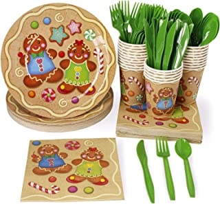 Christmas Disposable Dinnerware Set - Serves 24 - Festive Holiday Party Supplies, Boy and Girl Gingerbread Cookie Design, Includes Plastic Knives, Spoons, Forks, Paper Plates, Napkins, Cups