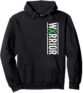 Adrenal Cancer Warrior Vertical Green Awareness Ribbon Pullover Hoodie