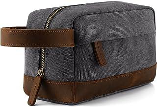 Plambag Canvas Leather Toiletry Bag Travel Dopp Kit Cosmetic Makeup Organizer(Grey)