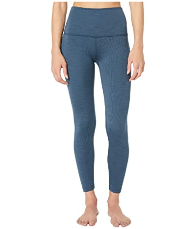 Beyond Yoga Heather Rib High Waisted Midi Leggings (Blue Horizon Heather) Women