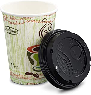 [12 Oz 26 Count] PaperMade Disposable Insulated To Go Designed Hot Cups With Black Dome Lids, For Drinking Coffee, Tea, Or Any Hot Beverage, Throw Away, Travel, Spill Free, Great For Home Or Cafe