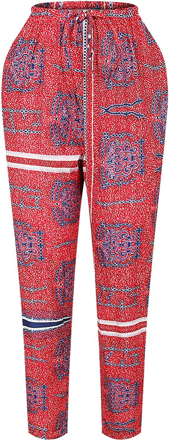 Honeystore Women's African Floral Print Long Top and Jogger Pants Sets Outfits