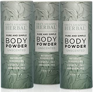 Natural Body Powder, Unscented, 2.5 ounces Pack of 3, Fragrance Free Dusting Powder Clay Powder, No Talc, Corn, Grain or G...