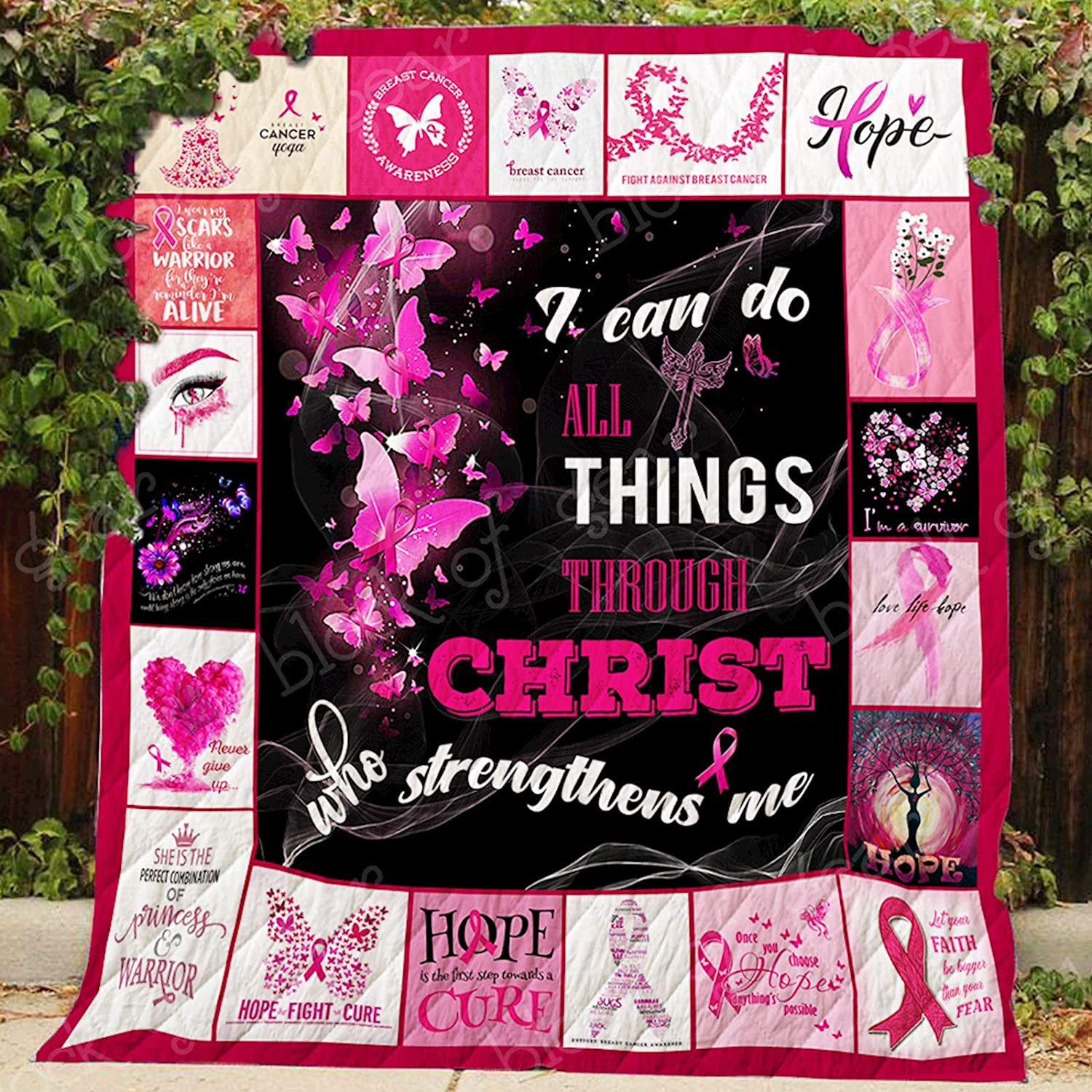 Pink Ribbon I Can Do All Thing Through Christ Quilt P454, Queen All-Season Quilts Comforters with Reversible Cotton King Queen Twin Size - Best Decorative Quilts-Unique Quilted for Gifts
