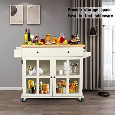 OKL Kitchen Island on Wheels,Rolling Kitchen Cart with Storage Drawers & Pine Countertop, Kitchen Trolley Cart with Towel