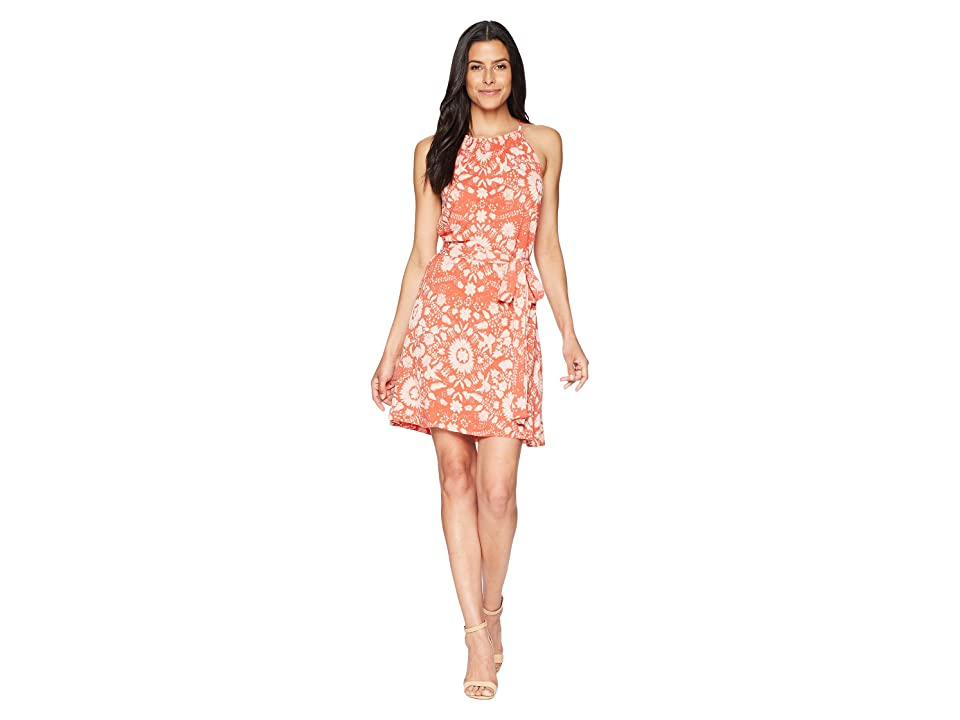 Lucky Brand Knit Self Tie Dress (Rust Multi) Women
