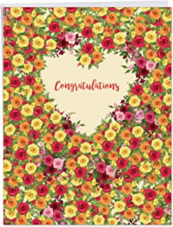 Heartfelt Thanks - Beautiful Engagement Card with Envelope (Big 8.5 x 11 Inch) - Floral Congratulations Notecard for Couples, Bridal Shower J6578JENG