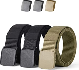 Mens Nylon 1.5in Width Adjustable Belt With Military Plastic Buckle