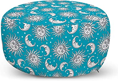 Lunarable Sun and Moon Pouf Cover with Zipper, Bohemian Inspirations in Heavenly Bodies Motifs, Soft Decorative Fabric Unstuf