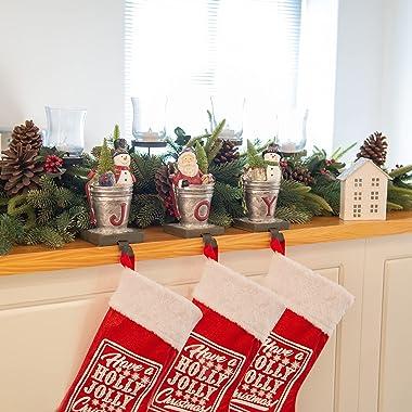 Christmas Joy Stocking-Holders Home-Decor Sculptures - Santa Snowman Figurines Set of 3 5.1L x 3.7W x 8.1H inch