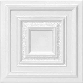 A la Maison Ceilings 1617 Chestnut Grove - Styrofoam Ceiling Tile (Package of 8 Tiles), Plain White