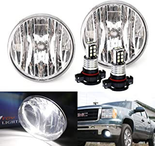 iJDMTOY OEM-Spec Clear Lens Fog Light Kit with 15-SMD Super Bright Xenon White LED Replacement Bulbs For 2007-2013 GMC Sierra 1500 2500 3500