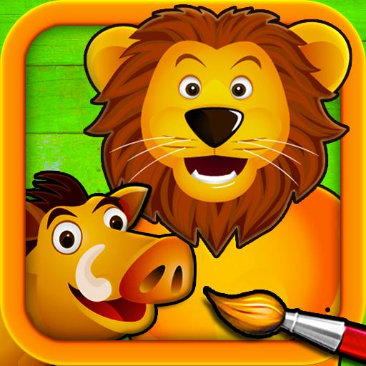 Savane - Puzzle, Couleurs et Dessins pour Enfants, Jeux de Coloriage et Peinture avec les Animaux