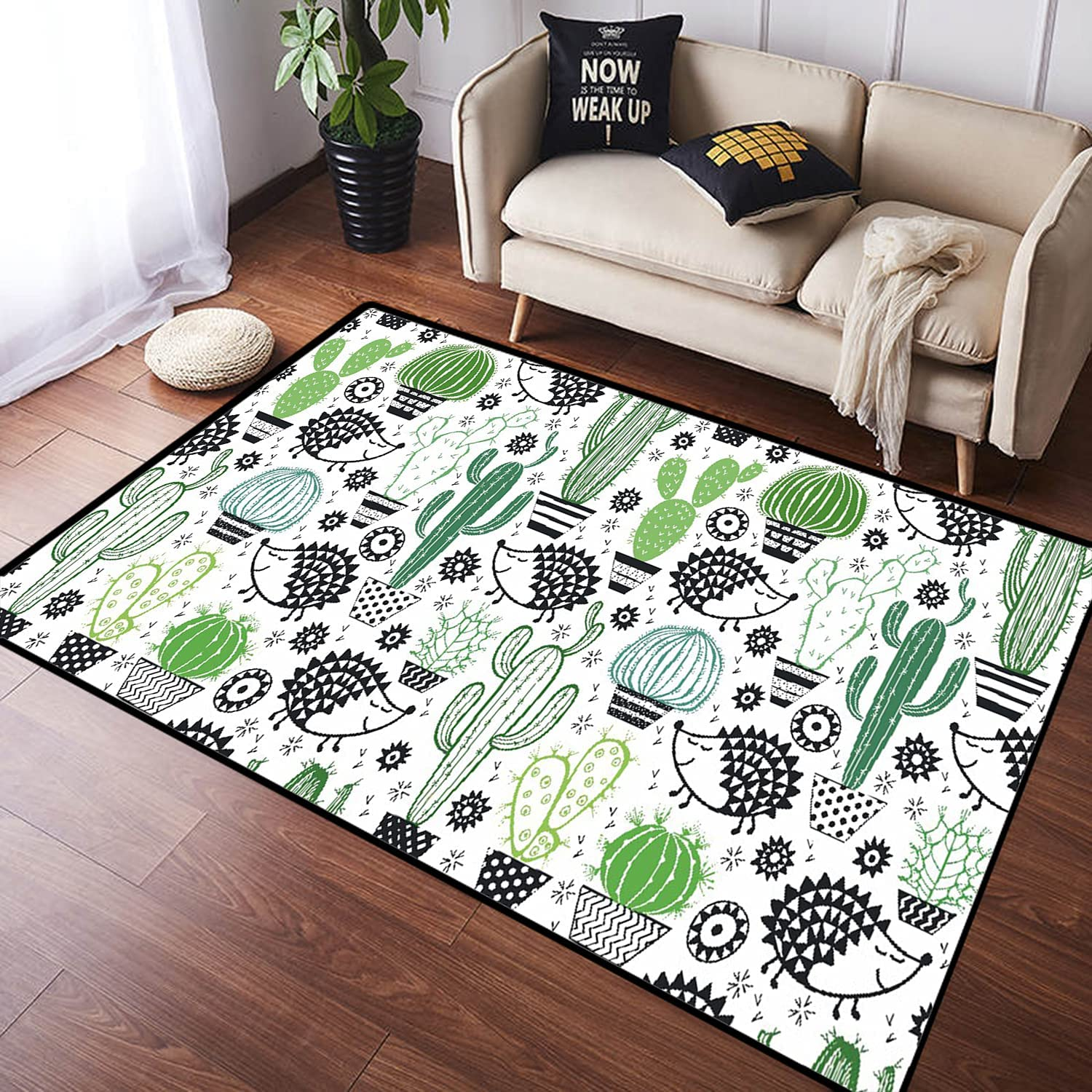 ZOMOY gift Long Floor Mat Carpet Floral Non-Sl Seamless with San Diego Mall Cactuses