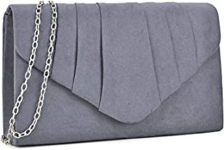 Dasein Womens Evening Bag Velvety Pleated Envelope Clutch Handbag Wedding Party Bridal Purse