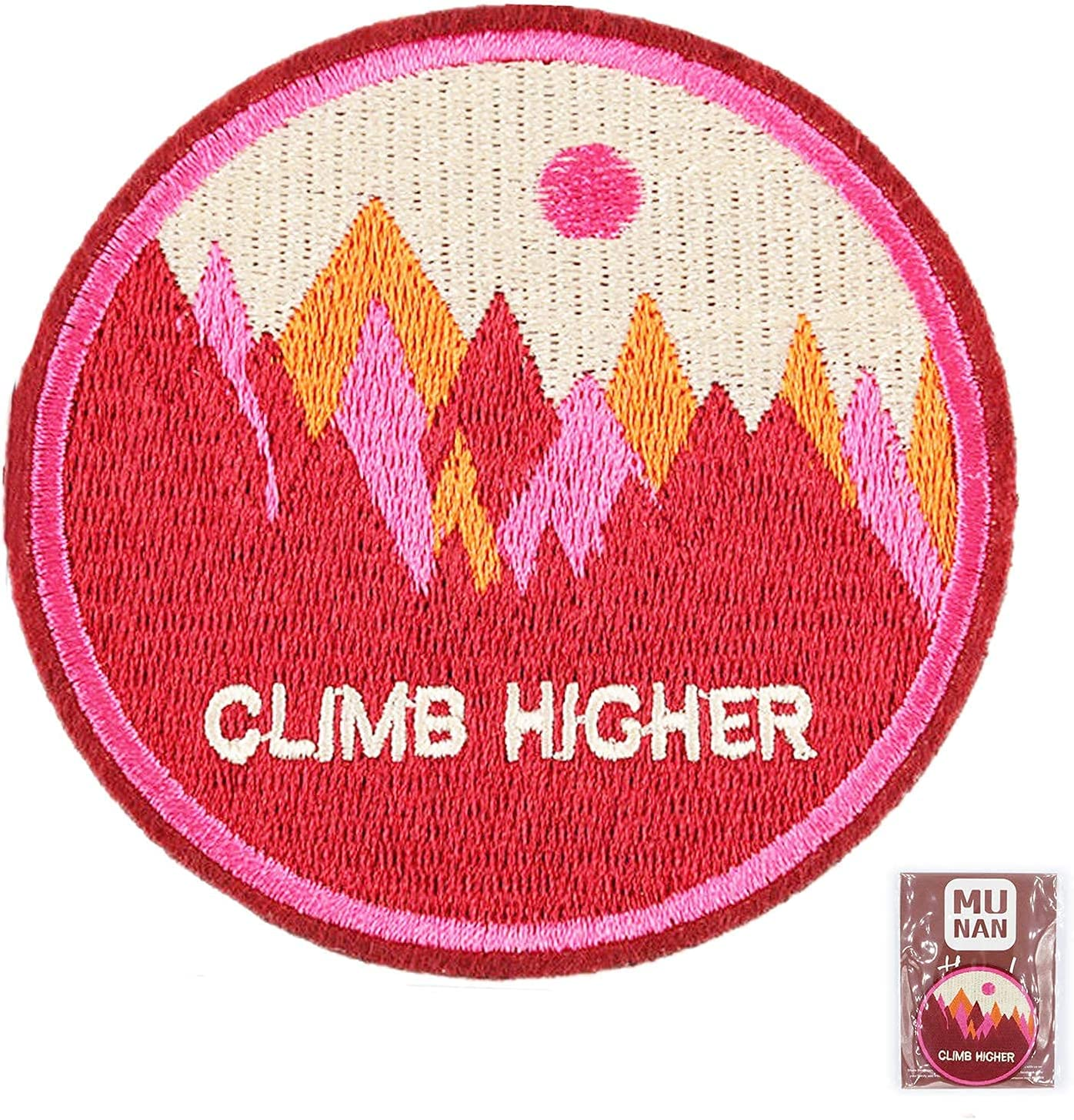 Easy-to-use Pink Climb Higher Max 71% OFF Outdoor Adventure Embroidered Applique Patch B