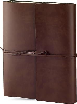 Álbum de fotos Vietri de cuero reciclado, tamaño grande, hecho a mano, estilo italiano clásico, incluye caja especial, A4 (23 x 30 cm), color marrón