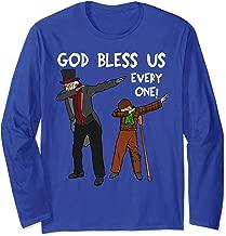 God Bless Us Everyone Dabbing Tiny Tim & Scrooge Christmas Long Sleeve T-Shirt