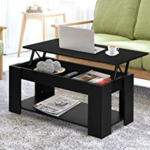 Artiss Coffee Table Lift Up Top Wooden Convertible Side Table with Storage for Living Lounge Room Black