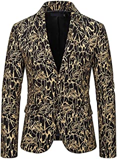 Men's Floral Blazer Slim Fit Two Buttons Tuxedos Jacket Peak Lapel Prom Party Performence Jacket Casual Coat