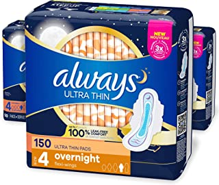 Always Ultra Thin, Size 4, Overnight Pads With Wings, Unscented, 50 Count (Pack of 3)