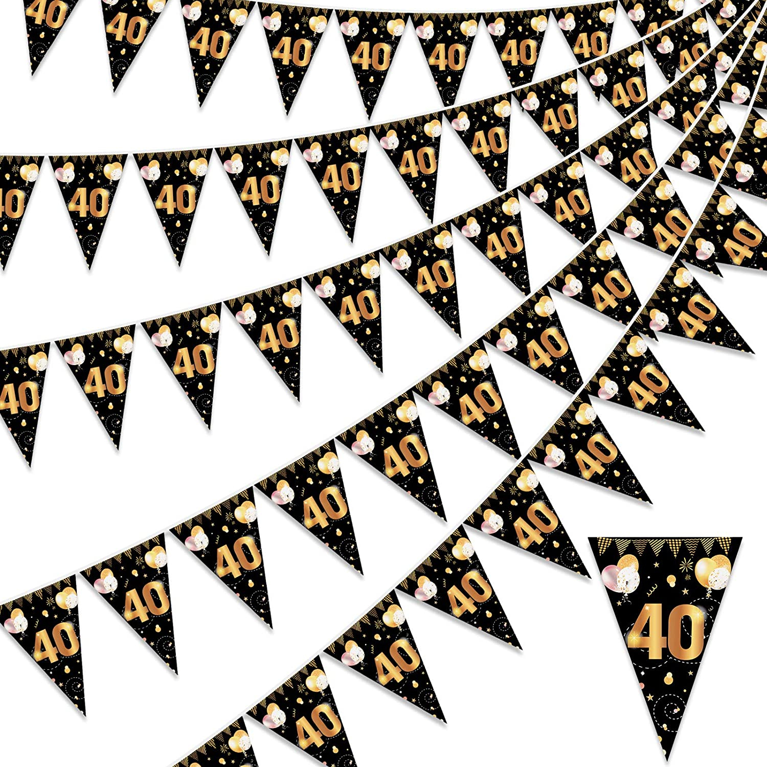 HOWAF Happy 40th SEAL limited product wholesale Birthday Banner Go Bunting Triangle Flag