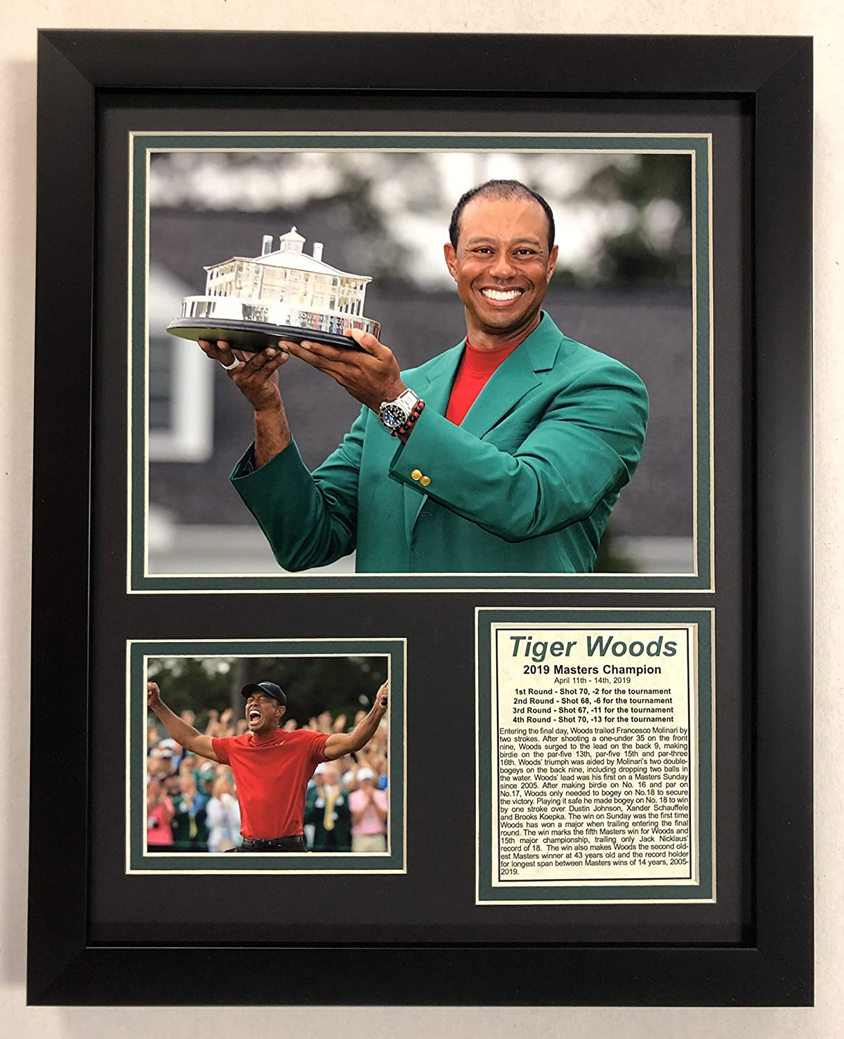 PGA Tiger Woods Legends Never Die 2019 Masters Champion Framed Double Matted Photos