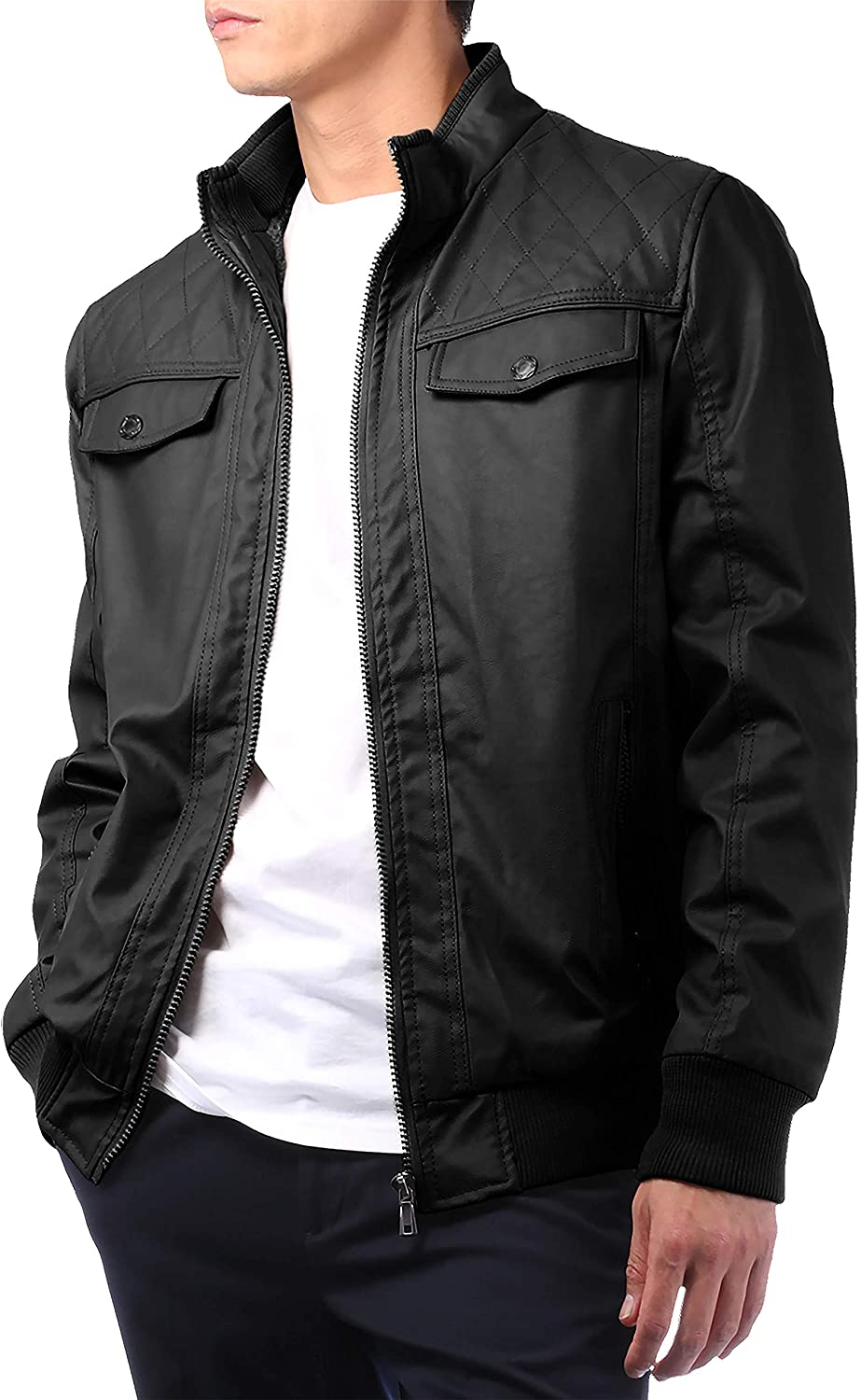 Hat and Beyond Mens Premium Faux Leather Jacket Motorcycle Rider Outerwear with Tactical Pockets