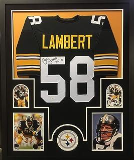 95bef90bd8e Jack Lambert Pittsburgh Steelers Signed Autograph Black Custom Framed Jersey  HOF Inscribed Suede Matted JSA Witnessed