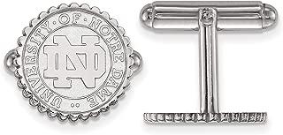 University of Notre Dame Fighting Irish School Crest Cuff Links Set in Sterling Silver 15x15mm