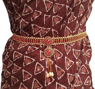 Valusha Women's Fashion Crystal Gold Plated Kamar Belt (Multicolour)