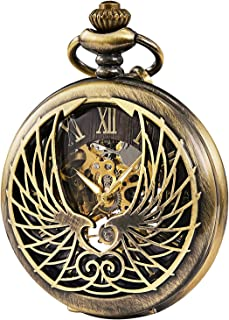 TREEWETO Skeleton Eagle Wings Design Case Roman Numeral Markers Mechanical Pocket Watch