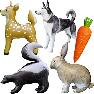Jet Creations 5 Pack Inflatable Realistic Cute Plush Animal and Carrot Combo. Deer, Rabbit Bunny, Husky, Skunk, Carrot. Size up to 36 inch. JC-A0105
