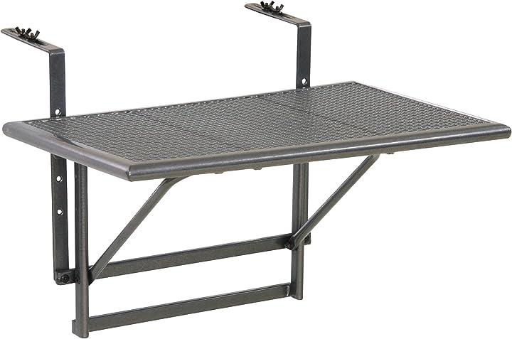 Tavolino pieghevole da balcone, regolabile in altezza, grigio, piccolo greemotion 416505 416505.0