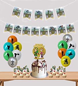 Legend of Zelda Birthday Party Supplies, 38 Pcs Party Decorations Includes Happy Birthday Banner, Balloons, Cake & Cupcake Topper for Legend of Zelda Theme Birthday Party