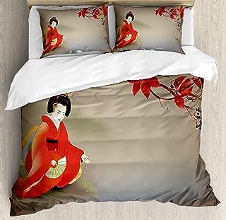 Lunarable Koi Fish Duvet Cover Set, Geisha Feeding Beast Autumn Time Culture Eastern Vibes Oriental, Decorative 3 Piece Bedding Set with 2 Pillow Shams, King Size, Sepia