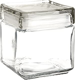 Anchor Hocking 85587R 1 Quart Stackable Square Clear Glass Storage Jar