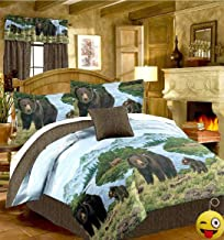 Rustic Cabin Lodge BLACK BEAR & CUBS 8pc Comforter Set w/Sheets (Bed In A Bag) (QUEEN SIZE)