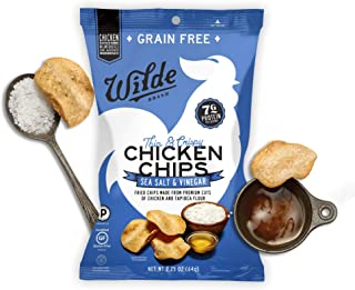 Sea Salt & Vinegar Chicken Chips by Wilde Brands | Protein Snack | Made with Real Chicken | Keto Friendly, Paleo Certified | Antibiotic and Gluten Free | 2.25oz Bag (4 count)