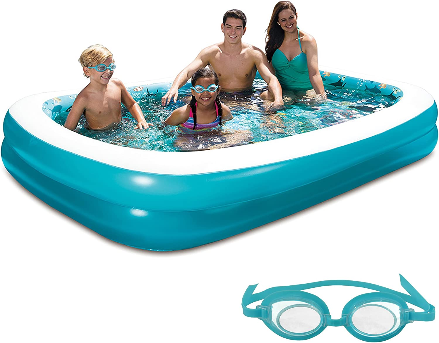 bluee Wave 3D Inflatable Rectangular Family Pool, 103  x 69
