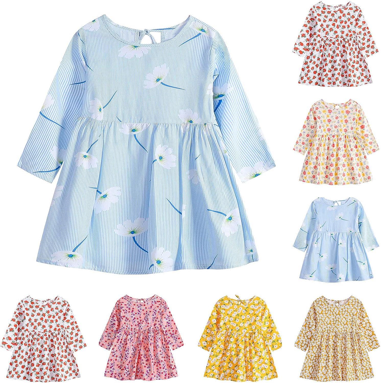 KUIOLYPOER Baby Girls' Dress Casual O-Neck Long Sleeve Floral Dress Beach Skirt for Girls 80-115