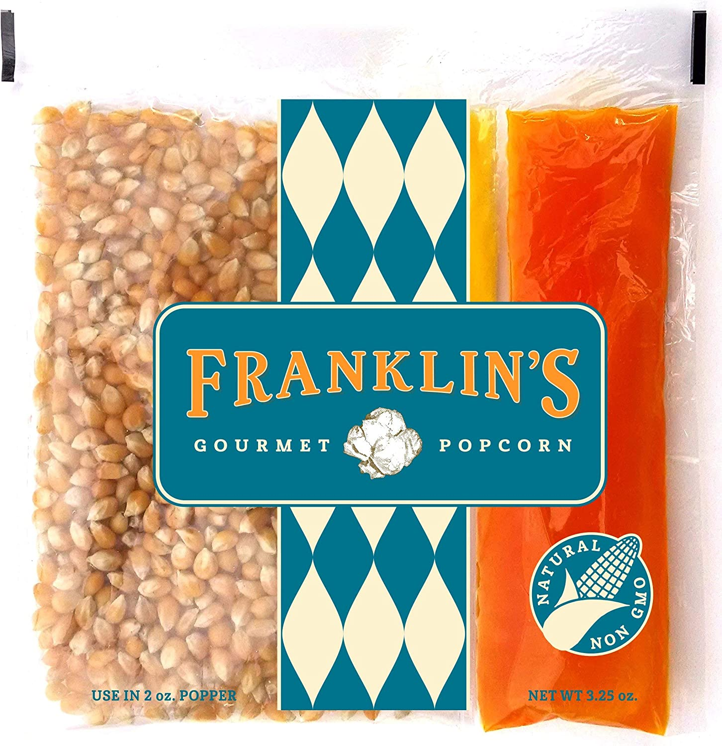 Franklin's Gourmet Popcorn All-In-One Pre-Measured Packs - 2oz. Pack of 24 - Butter Flavored Coconut Oil + Butter Salt Popcorn Seasoning + Organic Corn - Authentic Movie Theater Taste – Made in USA