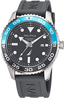 Nautica Men's Stainless Steel Quartz Silicone Strap, Gray, 22 Casual Watch (Model: NAPPBF142)