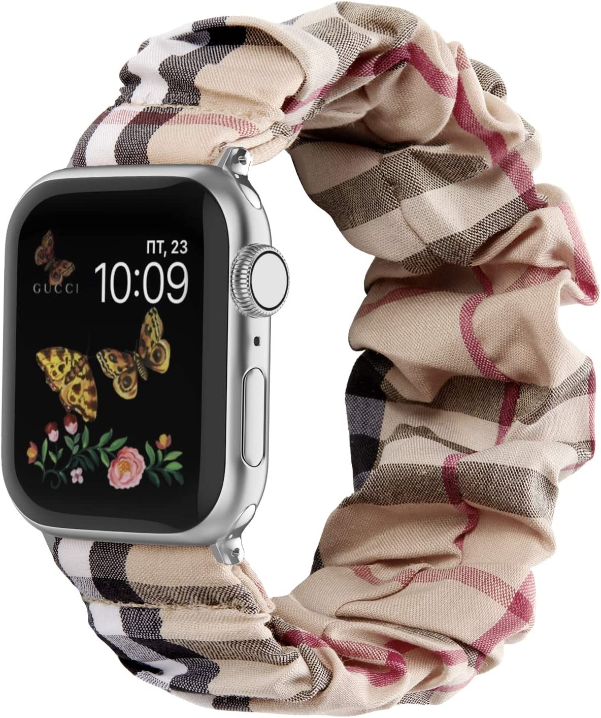 Recoppa Compatible with Scrunchie Apple Watch Bands 38mm 40mm 42mm 44mm Stretchy Elastic Strap Band Pattern Printed Women Bracelet Wristband for Apple iWatch SE/6/5/4/3/2/1