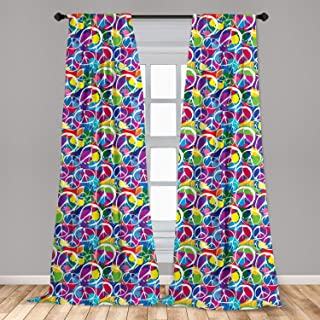 Ambesonne Retro Curtains, Universal Peace Sign on Colorful Pop Art Style Background Pacifist Activism, Window Treatments 2...