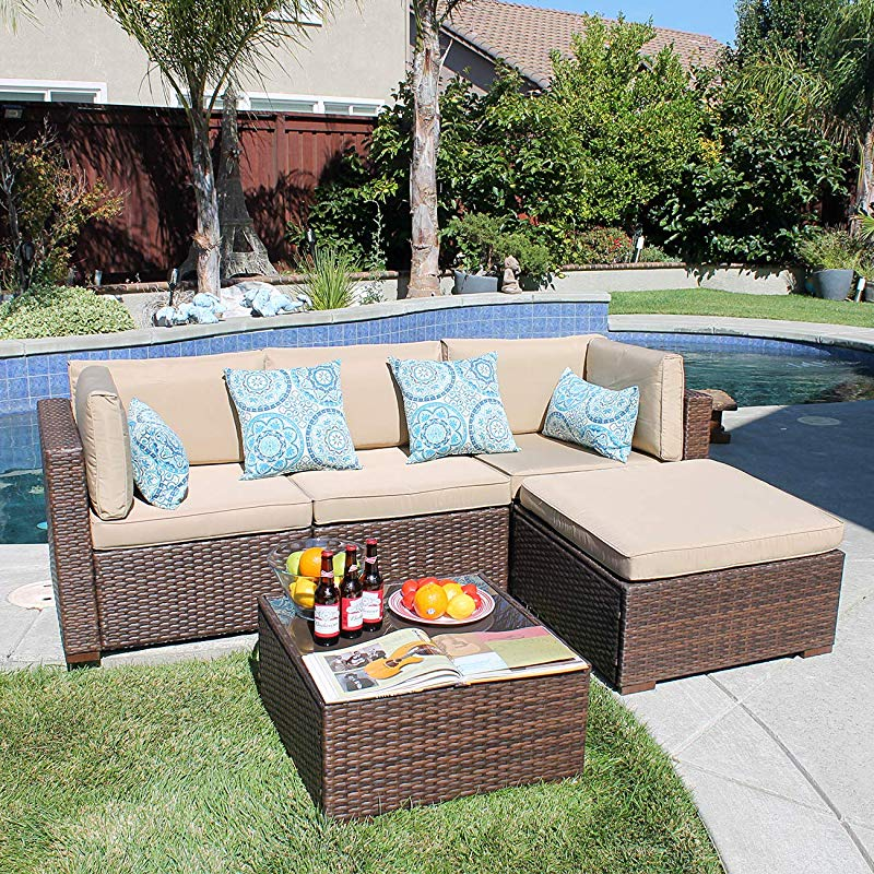 Patiorama 5PC Outdoor Patio Furniture Set All Weather Wicker Patio Sectional Sofa Set With Corner Sofa Chair Ottoman Table Beige