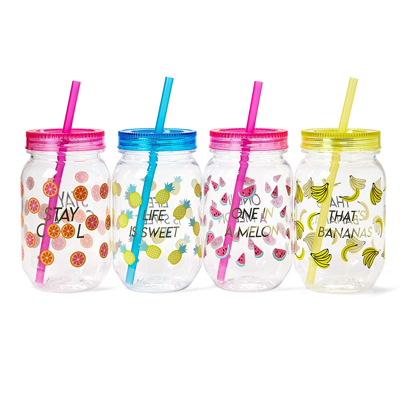 Tri-Coastal Design Fun Mason Jar Plastic Cups: Large Break Resistant, BPA Free To-Go Mugs with Lids and Handles - Perfect as Party Cups, Kids Travel Cups, Wedding Party Cups - Set of 4