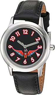 Disney Girls Coco Stainless Steel Analog-Quartz Watch with Leather-Synthetic Strap, Black, 15.3 (Model: WDS000558)
