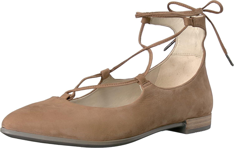 ECCO shoes Women's Shape-Ballerina Lace up Ballet Flats, Camel, 40 EU 9.5 M US