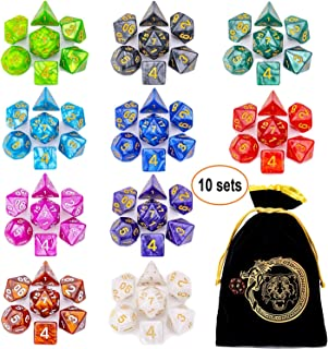 CiaraQ D&D Dice Sets, 10 X 7 Polyhedral Dice for Dungeons and Dragons DND RPG MTG Table Games D4 D6 D8 D10 D% D12 D20 with 1 Big Pouch